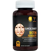 Biotin Beauty Supplement. 90 Capsules 10000mcg with Rice Powder. Pure Vegan Pills for Hair, Beard, Skin and Nail Growth. Non GMO Sugar Free Vitamins Boost Energy and Support Metabolism. Clinical Daily