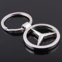 Benz AutoDIY Mercedes Benz car Keychain Car Logo Key Ring 3D Metal Emblem Pendant Double Side Zircon Crystal Decoration Lanyard Keychains Accessories for Gifts