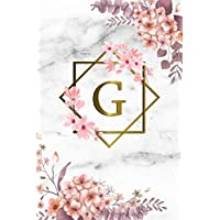 G: Cute Initial Monogram Letter G College Ruled Notebook. Pretty Personalized Medium Lined Journal & Diary for Writing & Note Taking for Girls and Women - Grey Marble & Gold Pink Floral Print