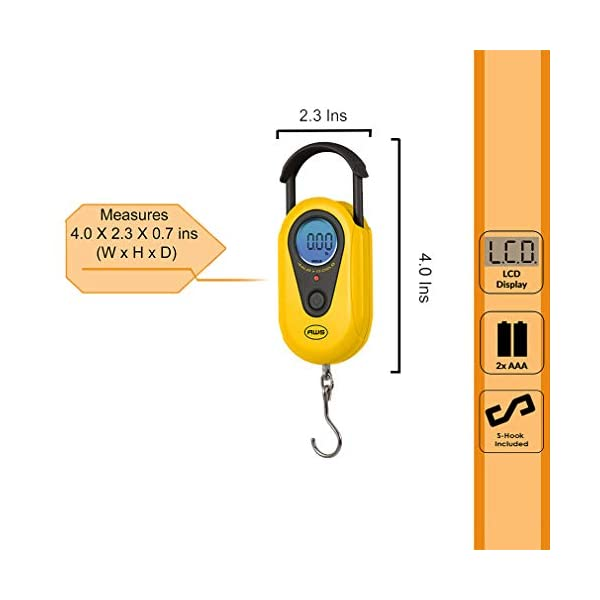44lb by 0.02 LB American Weigh Scales AMW-SR-20 Yellow Digital HanGinG Scale