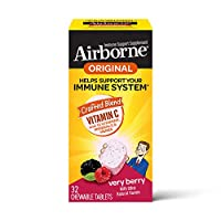 Vitamin C 1000mg - Airborne Very Berry Chewable Tablets (32 count in a box), Gluten-Free Immune Support Supplement and High in Antioxidants, Packaging May Vary