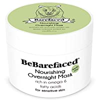 BeBarefaced Overnight Avocado Moisturising Face Mask For Sensitive Skin - Soothing Nourishing Hypoallergenic Facial Rosacea Treatment For Dryness and Dehydration - Kaolin Clay and Natural Antioxidants