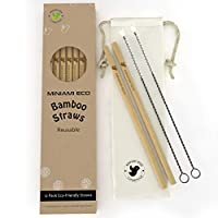 Minami Eco Reusable Bamboo Drinking Straw – Eco-Friendly 12 Straws + 2 Cleaning brushes + Cotton Bag – Biodegradable, Organic, Plastic Alternative – 8 inches