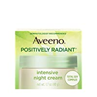 Aveeno Positively Radiant Intensive Moisturizing Night Cream with Total Soy Complex & Vitamin B3, Oil-Free, Non-Greasy, Hypoallergenic & Non-Comedogenic, 1.7 oz