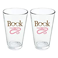 Book Worm with Earthworm Glasses Novelty 16oz Pint Drinking Glass Tempered
