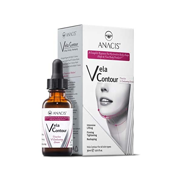 Neck Firming and Tightening Lifting V line Serum Chin Contouring Reduce Appearance of Double Chin Loose and Sagging Skin. Vela Contour