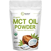Micro Ingredients Organic MCT Oil Powder, 1 Pound (454 Grams), MCT Oil Organic, Delicious Creamer for Coffee, Tea, Smoothie, Drink and Beverage, No GMOs, Keto Diet and Vegan Friendly