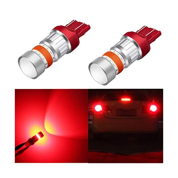 Alla Lighting Xtreme Super Bright T20 7440 7443 LED Bulbs High Power COB 72-SMD LED 7443 Bulbs 7441 7444 W21W LED Turn Signal Brake Stop Tail Light Pure Red Set of 2