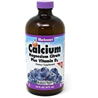 Bluebonnet Nutrition Liquid Calcium Citrate Magnesium Citrate, Vitamin D3, Bone Health, Gluten Free, Soy free, milk free, kosher, 16 Fl Oz, 32 Servings, Blueberry Flavor