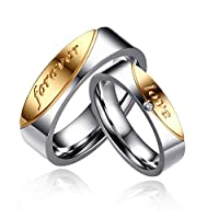 Bishilin Silver Plated Cubic Zirconia Inlaid Women Wedding Ring Sets Half Size Size 9.5