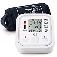 Blood Pressure Monitor Voice Broadcast Automatic Arm High Blood Pressure Monitors Portable LCD Screen Irregular Heartbeat Monitor with Adjustable Cuff and Storage Bag Powered by Battery -White