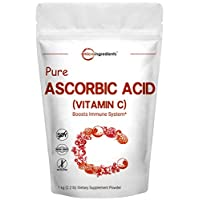 Pure Ascorbic Acid Powder (Water Soluble Vitamin C Powder), 1 KG (2.2 Pounds), Immune System Booster and Strong Antioxidant for Making Serum or Adding to Smoothie and Drinks, Non-GMO