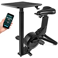Happibuy Indoor Cycling Bike Office Exercise Bike Height Adjustable Cycle Exercise Bike Magnetic Adjust Resistance Easy Moving with App and Table (1800 with table / Black)