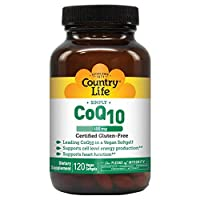 Country Life Vegan CoQ10 100 mg, Supports Heart Function & Cell Level Energy Production, Gluten-Free, Non-GMO, 120 Softgels