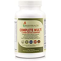 Bodyhealth Complete Multi + Liver Detox Support, Full Spectrum Antioxidant Multivitamins with 16 Whole Foods Organic Fruits Vegetables Concentrates, Vitamin & Minerals (120 Tablets)
