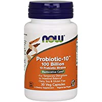 NOW Supplements, Probiotic-10, 100 Billion, with 10 Probiotic Strains,Dairy, Soy and Gluten Free, Strain Verified, 30 Veg Capsules