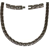 Elegant Titanium Magnetic Therapy Necklace Pain Relief for Neck Arthritis Migraine Headaches Shoulders and Back (Gunmetal Gray)