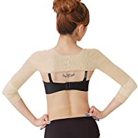 Women's Slimming Arm Shapers Back Shoulder Support Wrap Correct Posture Corrector Humpback Prevent Shaperwear Compression Massaging Arms Lymphedema Support (M(fit US XS), Nude)