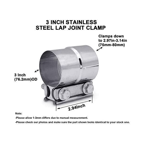 EVIL ENERGY 2.5 Inch 63-65mm Lap Joint Exhaust Band Clamp Preformed 304 Stainless Steel for 2.5 OD to 2.5 ID Exhaust Pipe Muffler Connection