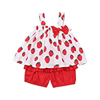 bilison Toddler Baby Girl Summer Outfits Strap Sleeveless Fruit Ruffle Dress Top+Pleated Short Pants 2Pcs Clothes Set