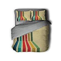 Luoiaax Vintage Rainbow 3-Pack (1 Duvet Cover and 2 Pillowcases) Bedding Vertical Colored Stripes with Grunge Effect on a Pale Yellow Background Polyester (Queen) Multicolor