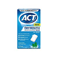 ACT Dry Mouth Moisturizing Gum with Xylitol, Sugar-Free Soothing Mint, 20 Pieces Sugar-Free Dry Mouth Gum (Packaging may Vary)