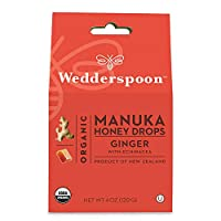 Wedderspoon Organic Manuka Honey Drops, Ginger + Echinacea, Unpasteurized, Genuine New Zealand Honey, Perfect Remedy For Dry Throats, 4.0 Ounce