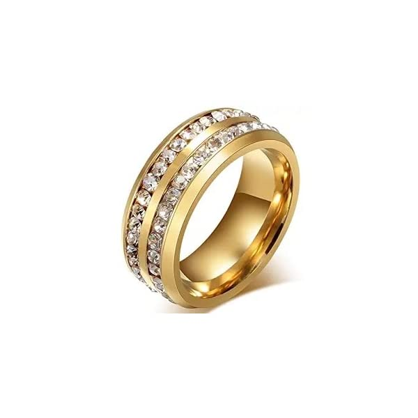 Chryssa Youree 7mm Women Stainless Steel Eternity Ring for Wedding Band Engagement Promise CZ Cubic Zirconia Crystal Circle Round Size 7 to12 SZZ-022