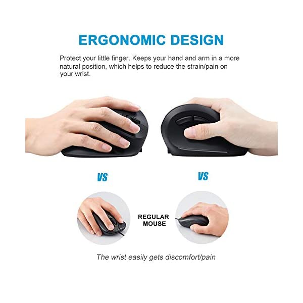 2.4Ghz Wireless Ergonomic Vertical Mouse 1600DPI Adjustable 6 Buttons Computer Mice for PC Laptop HJL Wireless Vertical Mouse