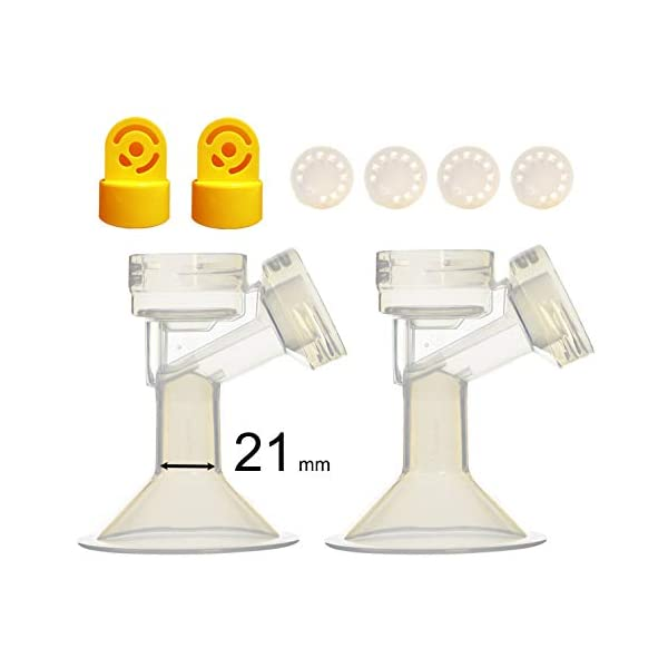 21 mm 2xOne-Piece Small Breastshield w// Valve and Membrane for Medela Breast Pumps; Replacement to Medela PersonalFit 21 Breastshield and Personal Fit Connector; Made by Maymom