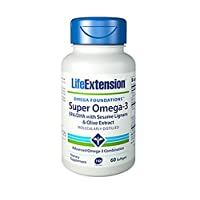 Life Extension Super Omega-3 Epa/DHA with Sesame Ligans & Olive Extract Soft Gels, 60 Count