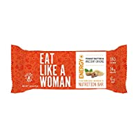 Eat Like A Woman, Plant Based Protein Bar, Gluten Free Bars w/Peanut Butter, Organic Ingredients, Paleo Friendly, Soy Free, Dairy Free, Peanut Butter & Ancient Grains, 12 Pack