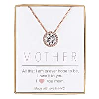 AMDXD Jewelry Silver Plated Women Pendant Necklace Cubic Zirconia Round Rudder as Birthday Gift