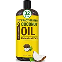 Fresh & Pure Fractionated Coconut Oil - Big 32 fl oz Bottle - Non-GMO, 100% Natural, Lightweight Massage Oil for Massage Therapy on Skin, Hair, More - Perfect Carrier Oil for Essential Oils
