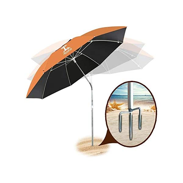 Sport 100/% UV Protection Picnic and Patio Windproof with Sand Anchor 360/° Tilt and Telescopic Parasol 1 Large Lightweight Carry Bag Sunphio Beach Umbrella Portable for Travel
