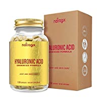 Natrogix Hyaluronic Acid 120mg/ Serving - 120 VCaps with Collagen Type II and Chrondroitin Sulfate - Support Healthy Joints and Youthful Skin (60 Days Supply)/Made in USA …