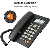 Desktop Corded Telephone with Caller Number Display, DTMF/FSK Dual System, Wired Landline Phone for Home/Hotel/Office, Adjustable Volume, Real Time Date&Week Display, Adjustable LCD Brightness