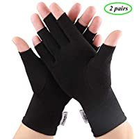 2 Pairs Compression Gloves Arthritis Gloves, Fingerless Gloves for Women & Men,Gloves for Rheumatoid & Osteoarthritis - Joint Pain and Carpel Tunnel Relief,Computer Typing