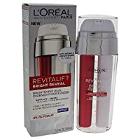 Night Moisturizer, L'Oreal Paris Revitalift Bright Reveal Dual Overnight Moisturizer to Exfoliate Dull Skin, Reduce Wrinkles, Diminish Look of Dark Spot and Visibly Refine Tone and Clarity, 1 fl. oz.