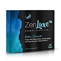 ZenLuxe PM Extra Strength Herbal Sleep Aid - Max Efficiency Sleeping Pills for Deep Restful Sleep & Insomnia Relief - Strong, Fast Acting, All-In-1 Formula - Natural Sleep Aids For Adults - 30 Tablets