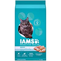 IAMS PROACTIVE HEALTH Adult Indoor Weight Control & Hairball Control Dry Cat Food with Chicken, Turkey, and Garden Greens, 22 lb. Bag