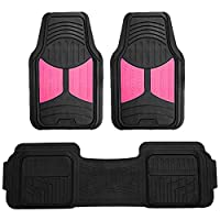 FH Group F11513 Trimmable Heavy Duty Rubber Floor Mats (Pink) Full Set - Universal Fit for Cars Trucks and SUVs