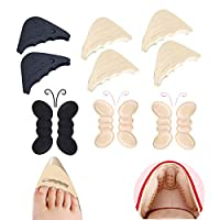 12 Pcs Heel Cushion Inserts Toe Fillers Pads for Womens Shoes to Big, Heels Grips Liners Fille Non Slip Pad Pain Blister Protectors for Pointe Shoe Men (Black and Khaki)