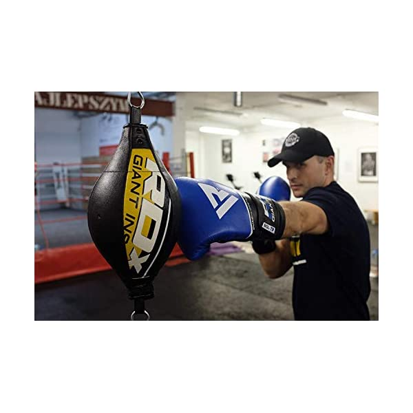 RDX Double End Speed Ball Leather Boxing Speed Bag MMA Dodge Ball Punching Training Floor to Ceiling Rope Workout