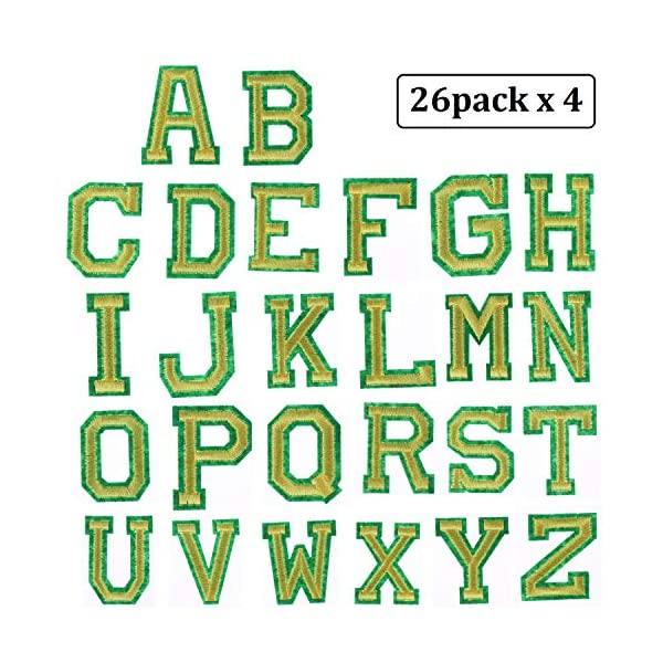 Alphabet Applique Patches or Sew on Appliques with Embroidered Patch A-Z Letter Badge Decorate Repair Patches for Hats Shirts 52 Pieces Iron on Letter Patches Bags Shoes Gold, 52 Pieces Jeans