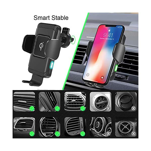 Samsung S10//S10+//S9//S9+//S8//S8+ Wireless Car Charger by Owltronics,10W Qi Fast Charging Auto-Clamping Car Mount,Windshield Dashboard Air Vent Phone Holder Compatible with iPhone Xs MAX//XS//XR//X//8//8+