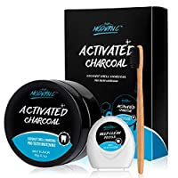 Teeth Whitening Powder Activated Charcoal Coconut -2.1oz(60g)-Teeth Whitening Kit-Bamboo Toothbrush and Teeth Floss Teeth Whitener - Tooth Powder-Oral Care Teeth Stain Remover XMAS GIFT (MINT)