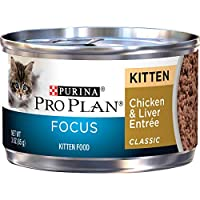 Purina Pro Plan Pate Wet Kitten Food, FOCUS Chicken & Liver Entree - (24) 3 oz. Pull-Top Cans