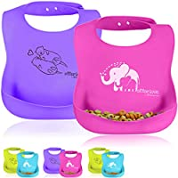 Platinum Silicone Bib - Waterproof Baby Bibs with Wide Food Catching Pocket â Easy to Clean â Toddler Proof â Mess Proof â Dishwasher Safe â BPA Free (2 Bib Pack - Pink Elephants & Purple Otters)