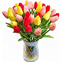 JOEJISN 30pcs Artificial Tulips Flowers Real Touch Multicolored Tulips Fake Holland PU Tulip Bouquet Latex Flowers for Wedding Party Office Home Kitchen Decoration (Pink Yellow Red)